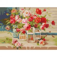 Картина по номерам 40х50 см, ОСТРОВ СОКРОВИЩ 'Свежесть роз', на подрамнике, акриловые краски, 3 кисти, 662465