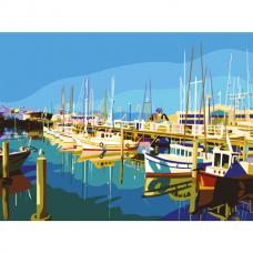 Картина по номерам 40х50 см, ОСТРОВ СОКРОВИЩ 'Яхты на пристани', на подрамнике, акриловые краски, 3 кисти, 662470