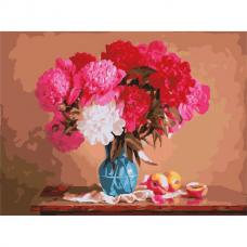 Картина по номерам 40х50 см, ОСТРОВ СОКРОВИЩ 'Яркие пионы', на подрамнике, акриловые краски, 3 кисти, 662477