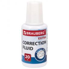 Корректирующая жидкость BRAUBERG EXTRA быстросохнущая, 20 мл, с кисточкой, 229397