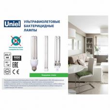 Лампа БАКТЕРИЦИДНАЯ ультрафиолетовая UNIEL ESL-PL-9/UVCB, 9 Вт, 2G7