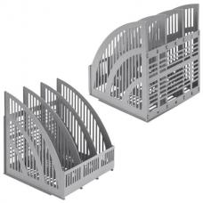 Лоток вертикальный для бумаг BRAUBERG 'Energy', 250 мм, 3 отделения, сетчатый, сборный, серый, 237018