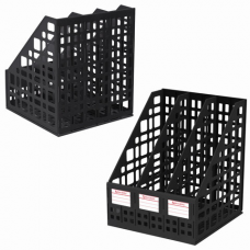 Лоток вертикальный для бумаг BRAUBERG 'MAXI Plus', 240 мм, 3 отделения, сетчатый, сборный, черный, 237013