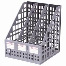 Лоток вертикальный для бумаг BRAUBERG 'MAXI Plus', 240 мм, 3 отделения, сетчатый, сборный, серый, 237014