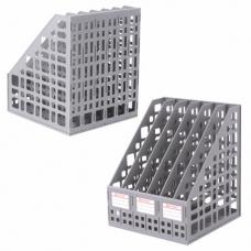 Лоток вертикальный для бумаг BRAUBERG 'MAXI Plus', 240 мм, 6 отделений, сетчатый, сборный, серый, 237016, ЛТ86