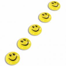Магниты СРЕДНЕГО ДИАМЕТРА, 30 мм, НАБОР 5 штук, с рисунком СМАЙЛИК, жёлтые, в блистере, STAFF 'Basic', 237483