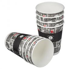 Одноразовые стаканы 300 мл, КОМПЛЕКТ 25 шт., бумажный ДВУХСЛОЙНЫЕ, Cafe Noir (мелованные), холодное/горячее, HUHTAMAKI, 77121200-2356