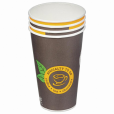 Одноразовые стаканы 400 мл, КОМПЛЕКТ 50 шт., бумажные однослойные, Coffee-to-go, холодное/горячее, HUHTAMAKI, 161S7А1600-0590