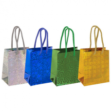 Пакет подарочный 11,4x6,4x14,6 см, ЗОЛОТАЯ СКАЗКА голография, ассорти 4 цвета, 606605