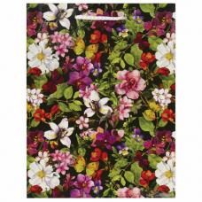 Пакет подарочный 17,8x9,8x22,9 см, ЗОЛОТАЯ СКАЗКА 'Цветочный принт', ламинированный, 606577