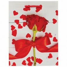 Пакет подарочный 17,8x9,8x22,9 см, ЗОЛОТАЯ СКАЗКА 'Роза с лентой', ламинированный, 606574