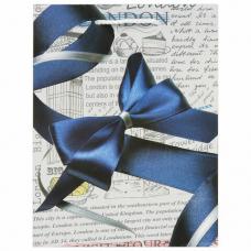 Пакет подарочный 17,8x9,8x22,9 см, ЗОЛОТАЯ СКАЗКА 'Синий бант', ламинированный, 606599