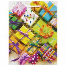Пакет подарочный 17,8x9,8x22,9 см, ЗОЛОТАЯ СКАЗКА 'Яркие подарки', ламинированный, 606591