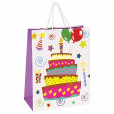 Пакет подарочный 26x12,7x32,4 см, ЗОЛОТАЯ СКАЗКА 'Именинный торт', ламинированный, 606592