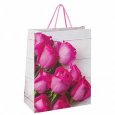 Пакет подарочный 26x12,7x32,4 см, ЗОЛОТАЯ СКАЗКА 'Розовые розы', ламинированный, 606582
