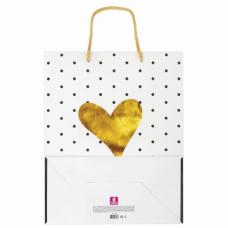 Пакет подарочный 26x12,7x32,4 см, ЗОЛОТАЯ СКАЗКА 'Золотое сердце', ламинированный, 606583