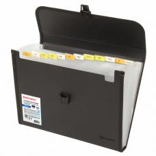 Папка для бумаг и документов с замком и 13 отделениями BRAUBERG 'HIT', А4, пластик, черная, 229572