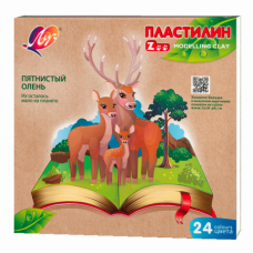 Пластилин классический ЛУЧ 'Zoo', 24 цвета, 360 г, картонная коробка, 30С 1809-08
