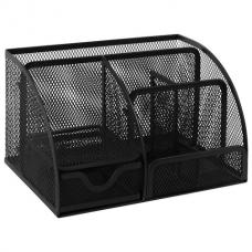 Подставка-органайзер металлическая BRAUBERG, 7 секций, 125х220х140 мм, черная, 237416