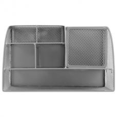 Подставка-органайзер металлическая BRAUBERG, 7 секций, 125х220х140 мм, серебро, 237417