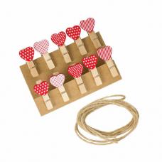 Прищепки декоративные 'Сердечки', 10 штук, 3,5 см, ассорти, со шпагатом, ОСТРОВ СОКРОВИЩ, 662674