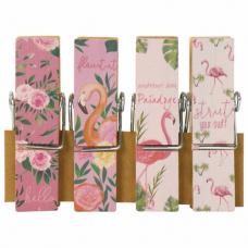 Прищепки декоративные широкие 'Фламинго', 4 штуки, 7,2 см, ассорти, ОСТРОВ СОКРОВИЩ, 662678