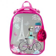 Ранец BRAUBERG PREMIUM, 2 отделения, с брелоком, для девочек, 'Париж', 38х29х18 см, 227813