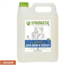 Средство для мытья стекол и зеркал с антибактериальным эффектом 5 л SYNERGETIC, биоразлагаемое, 96