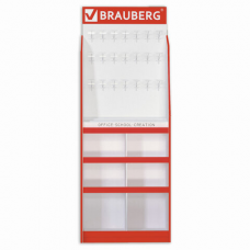 Стойка для размещения товара напольная усиленная BRAUBERG, 210х78х40 см, 4 полки, 30 ячеек, 21 крючок, 504341