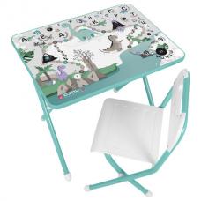 Стол детский + стул ДЭМИ, рост 2, складной, с пеналом, бирюзовый каркас, 'Динозавры'