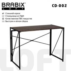 Стол на металлокаркасе BRABIX 'LOFT CD-002', 1000х500х750 мм, складной, цвет морёный дуб, 641212