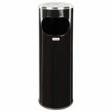 Урна с пепельницей 18 литров, 580х210 мм, нержавеющая сталь, черная, ЛАЙМА 'Профессионал', 606298