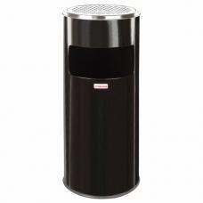 Урна с пепельницей 27 литров, 600х250 мм, нержавеющая сталь, черная, ЛАЙМА 'Профессионал', 606300