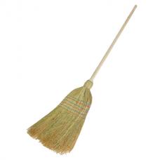 Веник-метла сорго ЛЮБАША, натуральный, 5-ти прошивной, деревянный черенок 100 см, 400х350 мм, 605368