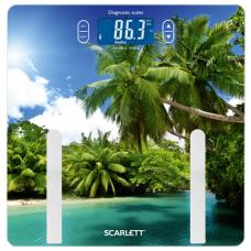Весы напольные диагностические SCARLETT SC-BS33ED12 'Пальмы', электронные, вес до 180 кг, стекло